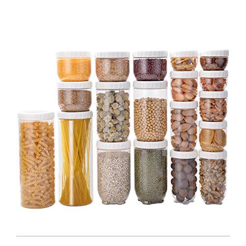 Xiaokeai Close Frischhaltedosen Lebensmittelgefüllte Plastik-Dosen for die Küche Snacks und Getreide Transparenter Aufbewahrungsbehälter for Lebensmittel (19 Pack) Frische-Dichtung