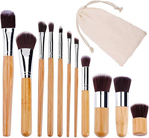 VOANZO 11 pièces Ensemble de pinceaux de maquillage en bambou pinceaux de maquillage ensemble cache-cernes lèvres fard à paupières mélange pinceau Kit avec pochette de voyage