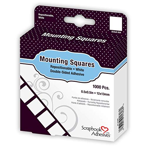 Scrapbook Adhesives by 3L Repositionable Mounting Squares, 1000-Pack