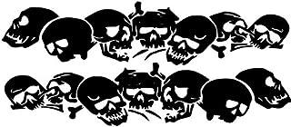 Beschriftungsspezi Schädel,Totenköpfe Aufkleber für die Fahrzeugseite 1,40m x 25 cm als Paar für die Rechte und die Linke Seite (Schwarz Matt)