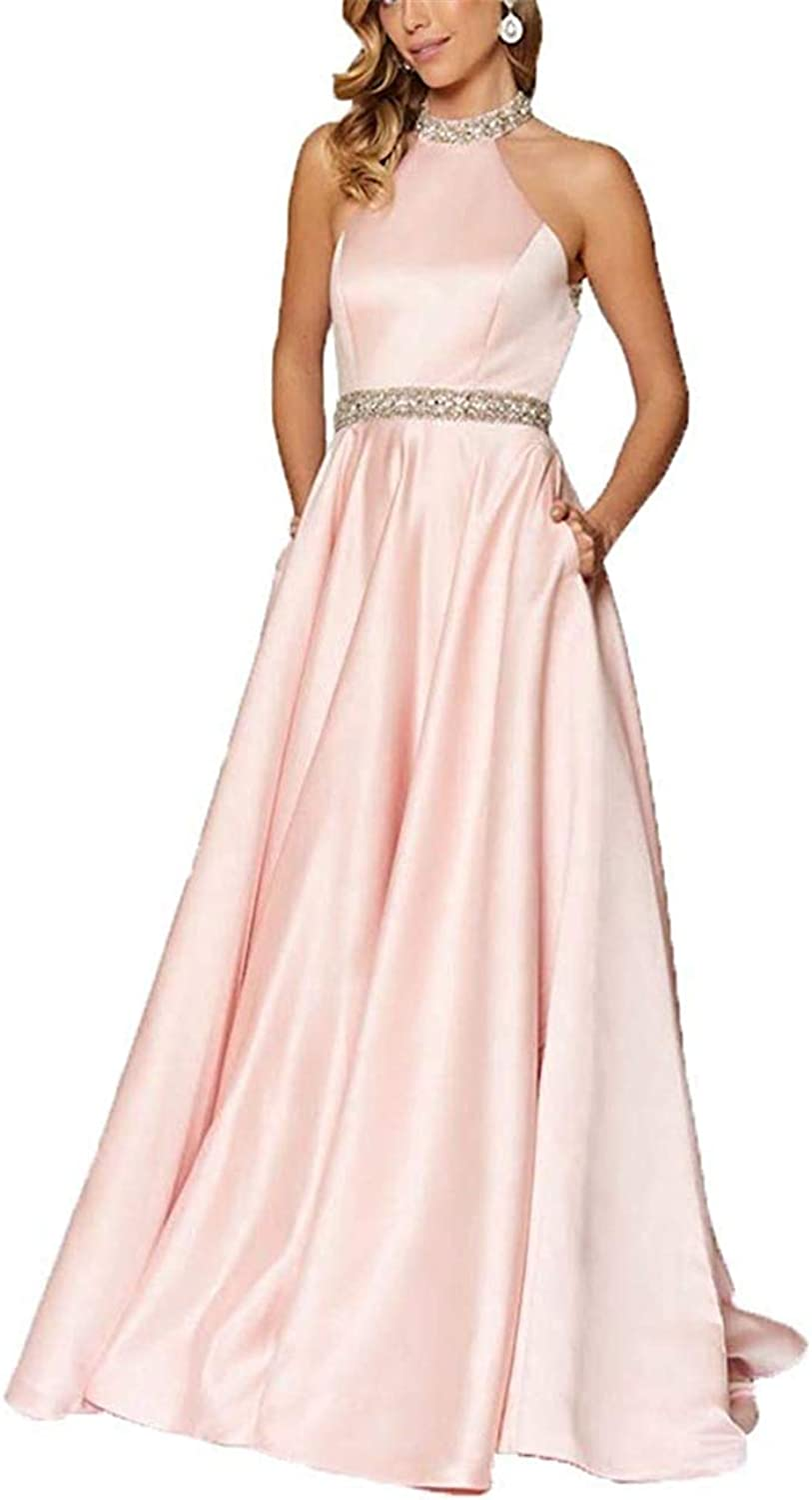 CharmingBridal Women's Beaded Halter Backless Evening Gown Long Prom Dresses