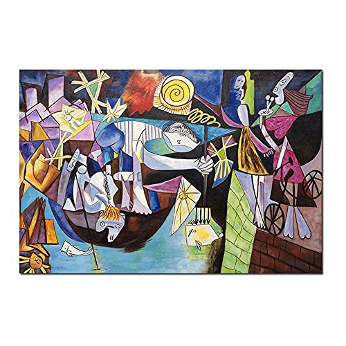 Pablo Picasso Abstract Oil Painting Replica Canvas Painting Night Fishing Wall Art Figure Pictures For Living Room Bedroom Home Decoration (Framed, 24x36 inches)