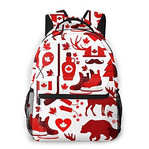 Kanada-Zeichen-beiläufiger Rucksack-Symbol-Hockey-Bier-Ahorn-Herz-Bärn-Blatt-Kobold-Tourismus-Baum-roter Schulrucksack-Reiserucksack mit Flaschen-Seitentaschen