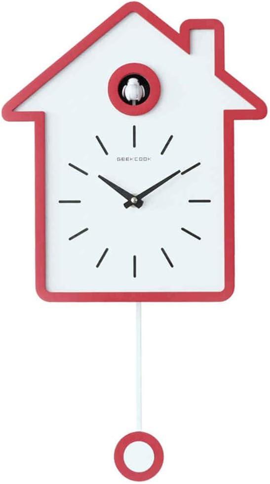 Modern Simple Nordic Style Design BENREN Cuckoo Clock for School Office Coffee Shop Bedroom Living Room Decoration,Grey Swing Report Clock