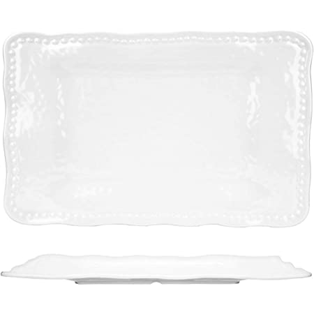 Q Squared Ruffle Bpa Free Melamine Large Rectangle Serving Platter 17 Inches By 13 1 2 Inches White Kitchen Products Serving Dishes Trays Platters