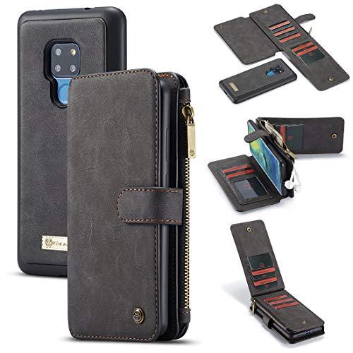 Funda protectora, Cartera de billetera para Huawei Mate20 2 en 1 Cremallera de cuero Magnético desmontable 14 ranuras para tarjeta, bolso de embrague Funda de cartera de cuero ( Color : BLACK )