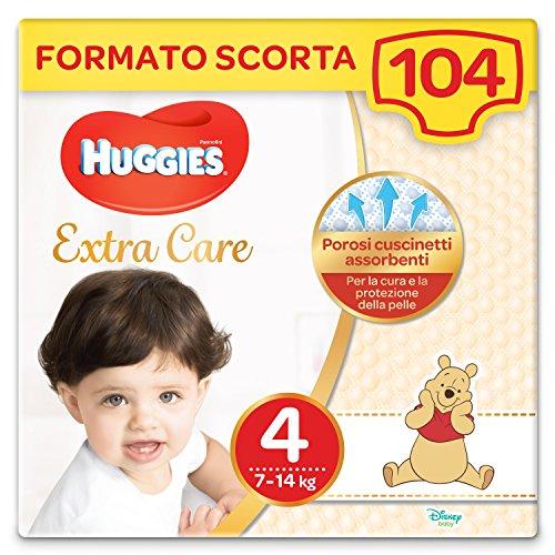 HUGGIES Pannolini Extra Care, Taglia 4 (7-14 Kg), Confezione da 104 Pannolini (4 x 26)