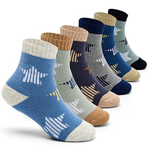 Jungen Wintersocken Kinder Warme Socken Dicke Cartoon Stern Baumwollsocken Thermosocken für Jungen 27-30/8-10 Jahre
