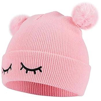 Cosweet Cute Pink Baby Winter Pom Beanie Hats- Double Pom Pom Infant Toddler Knitting Woolen Hat Crochet Beanie Cap Warm Winter Hat for Boys Girls