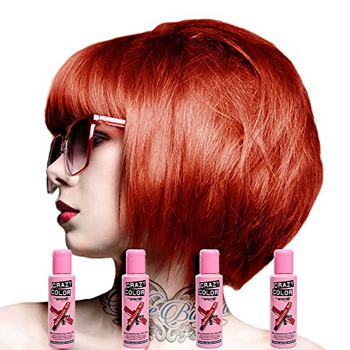 Crazy Colour Semi Permanent Hair Dye By Renbow Vermillion Red No.40 (100ml) Box of 4