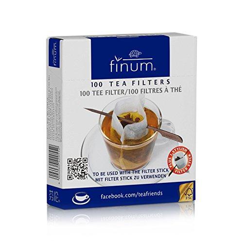 FINUM - Filtri da tè con Bastoncino, 100 x 75 mm Confezione da 100