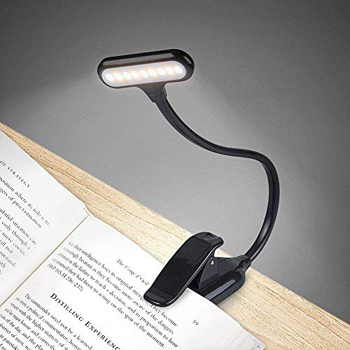 lovelyhome 9 LED Book Lights and a Rechargeable Clip on Light with 3 Lighting Modes (Black)