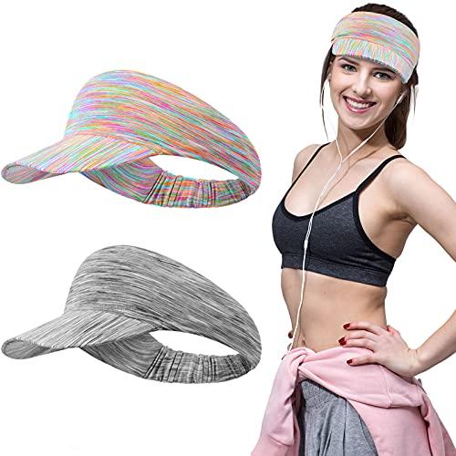 2 Pieces Women Sun Visor Cap Tie Dye Visor Elastic Sports Hat Empty Top Baseball Beach Hat