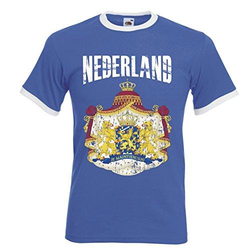 Niederlande Holland Ringer Herren T-Shirt Trikot Fußball WM 2018 T-Shirt - S M L XL XXL -Blau D01 (S)
