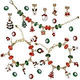 PHOGARY Kit per Braccialetti Natalizi Fai-da-Te (53 Pezzi) Set Regalo di Gioielli per Ragazze Adolescenti per Bambini per Creare i Tuoi Braccialetti, Regalo di Amicizia di Natale