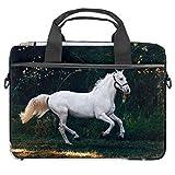 Laptoptasche / Aktentasche aus Segeltuch, Motiv The White Horse is Galopping, 34 - 36,8 cm (13,5 - 14,5 Zoll)
