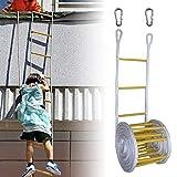 Escaleras De Fuego Escalera De Cuerda De Madera Escaleras De Evacuación Escalera De Escape Muy Ligero Fácil De Usar Se Fija Rápidamente A La Ventana Para Escapar Fácilmente 5 Tamaños Elegir