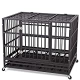 "JY QAQA PET Heavy Duty Dog Cage Strong Folding Metal Crate Kennel and Playpen for Medium and Large Dogs with Double Door, Two Prevent Escape Lock, Tray and Rolling Wheels (36"" 42"" 48') (36'')"