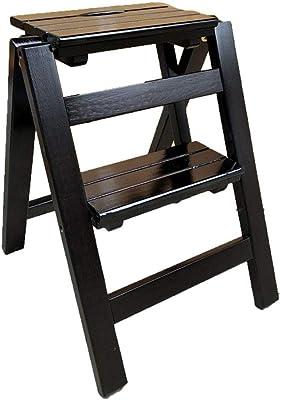 Klapptrittleiter Massivholz 2 Stufen Leiter Hocker Blumenst/änder Regal Haushalt Multifunktions Indoor Kleine Leiter Farbe: SCHWARZ