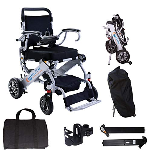 2021 Elite Foldable Electric Power Wheelchair, Supports up to 265lb, Weighs only 50lb, 12 Mile-Range with 2 Batteries, Fits Any car Trunk, Safe for Air Travel, Cover Bag Included, N5513A (Silver)