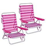 LOLAhome Pack de 2 sillas de Playa Convertibles en Cama de Aluminio y textileno (Rosa y Blanco)