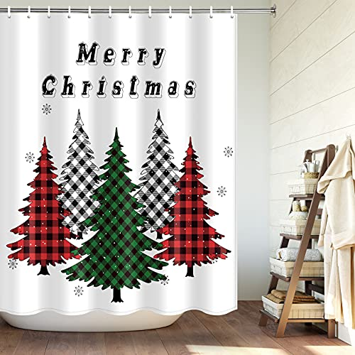 Weihnachtsduschvorhang Buffalo Karo Karo Weihnachtsbäume Badvorhang Winter Schneeflocke Bauernhaus Kiefer Duschvorhang-Sets für Badezimmer mit Haken