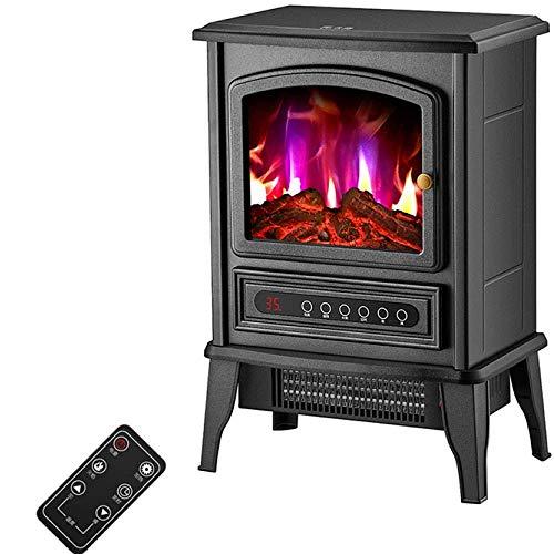 Calefactor Calentador de cocina eléctrica con estufa de leña efecto de la llama - 2000W WIFI luz chimenea con estufa de leña independiente LED + fuego RemoteControlelectric, Color: Remotecontrol