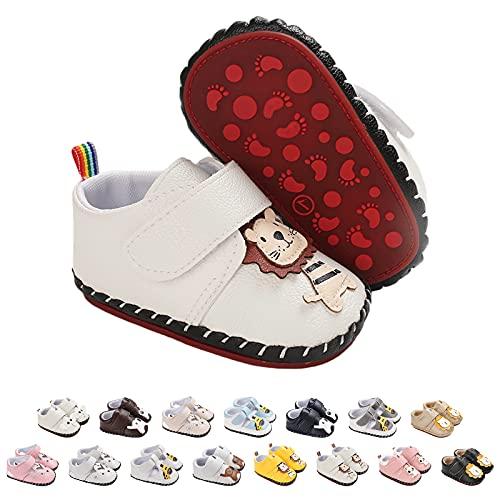 Baby Schuhe Lauflernschuhe Mädchen Jungen Lederpuschen Nette Karikatur Tier Krabbelschuhe Jungen Mädchen Baby Sneaker Mit Klettverschluss rutschfest PU Lederschuhe Baby Hausschuhe Gr.0-18Monate