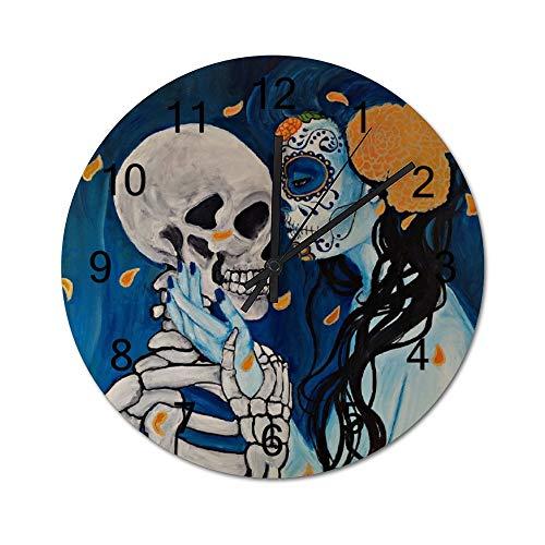 Reloj de pared para regalo de inauguración de la casa, 30,48 cm, amor eterno entre un calavera, hombre y mujer, funciona con pilas, reloj de madera para decoración del hogar