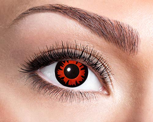 Zoelibat Farbige Kontaktlinsen für 12 Monate, Bella, 2 Stück, BC 8.6 mm / DIA 14.5 mm, Jahreslinsen in Markenqualität für Halloween, Fasching, Karneval, rot/schwarz