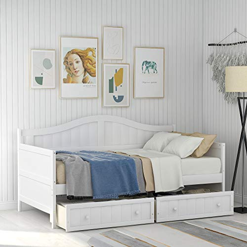 For Sale! Twin Daybed with Trundle/2 Storage Drawers, Wood Twin Size Trundle Daybed Frame, No Box Sp...