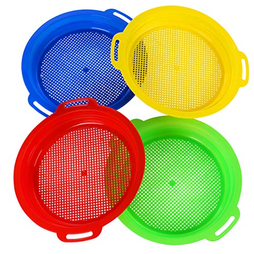 HONGDE Sand and Snow Sieves for Sand Toys (Red, Blue, Yellow & Green) Complete Gift Set Bundle-4Pack(8.75x 9.75in)
