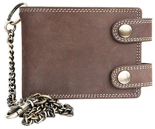 FLW Cartera de bolsillo marrón estilo motero de cuero con cadena de metal