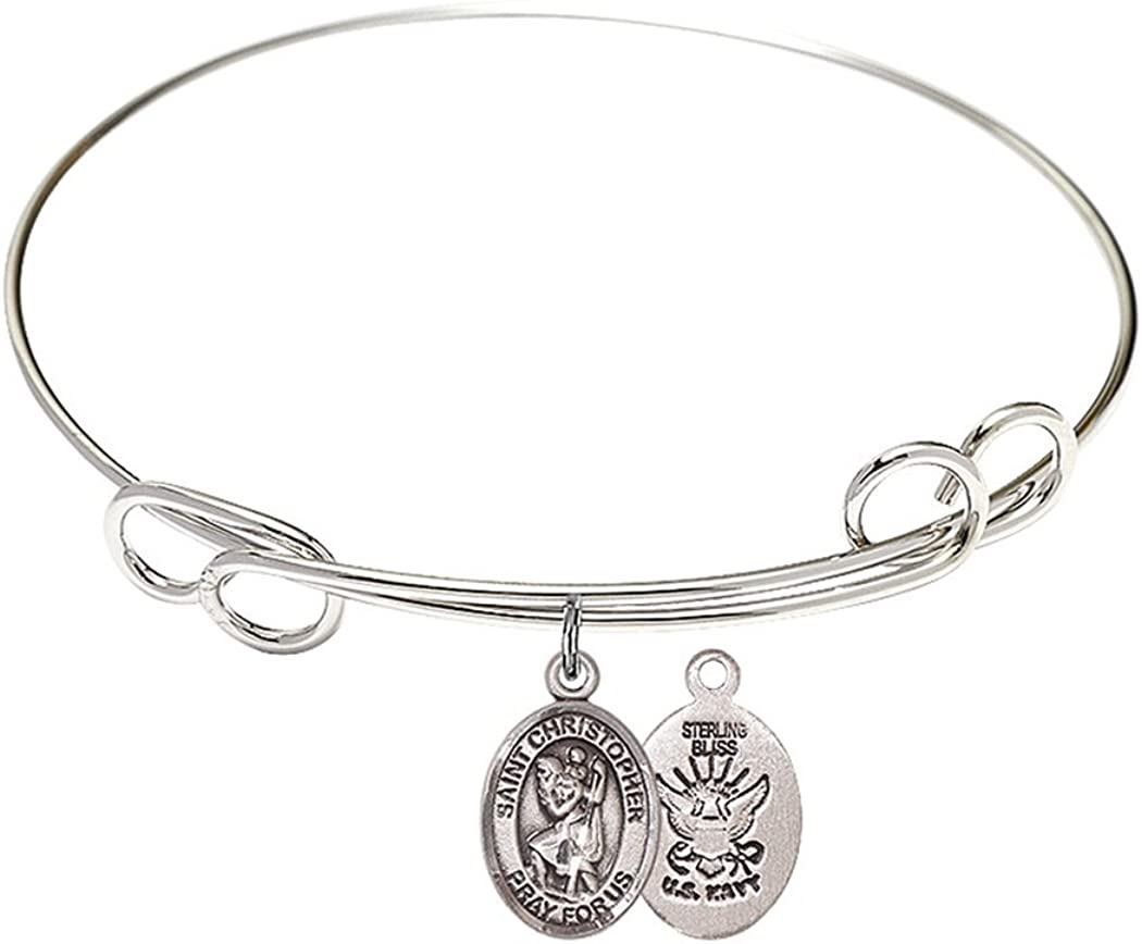 Brand new Rhodium Plate Bangle Bracelet Regular dealer with Navy Christopher Petite Saint