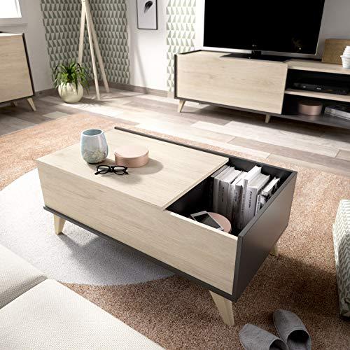 HOMEKIT Tavolino da salotto con busta sollevabile, 99 cm x 60 cm x 41 cm