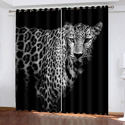 Gaepni 2 Piezas Cortinas Visillos Leopardo Ventana Habitación con Aislamiento Térmico Anti Ruido Opacas Cortinas Dormitorio Cortinas De Salon Modernas 234Cm X 183Cm