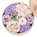 Pichidr-JP ソープフラワー 花束 新年とバレンタインデークリエイティブギフトアロマテラピーソープフラワーエターナルフラワーローズホームと女性のための小さな丸い箱