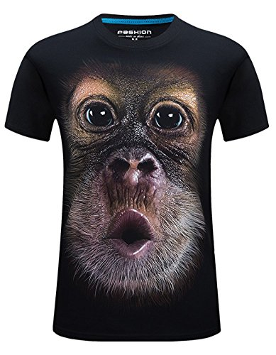 Angcoco Men's Short Sleeve 3D Digital Print Slim Fit T Shirts - Chimpanzee