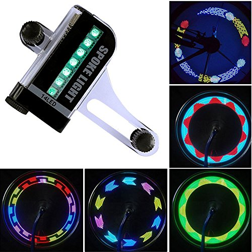Bicicletta LED Impermeabile Luce Raggi Bicicletta Luci con 14 LED Ultra Luminosi 32 Modello Multicolore Cambiamenti