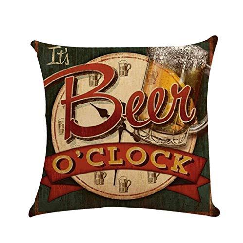 Rusaly Funda Cojin Vintage Industrial 45x45, Linaza Duradero, Tema de Cerveza, Decoración del Hogar, Decorativo Almohada para Sofá Silla (B)