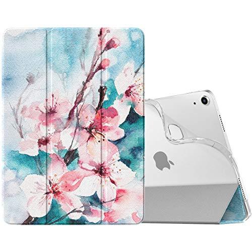 MoKo Hülle Kompatibel mit iPad Air 4. Generation 2020 Neu iPad 10.9 Zoll 2020, [Unterstützt 2. Gen iPencil Laden] Folio Schutzhülle Ständer TPU Weich Transluzent Rücken Auto Wake/Sleep, Pfirsichblüte