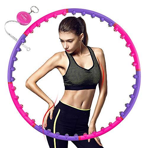 Aoweika Hula Hoop Reifen für Fitnessübungen, Magnetische Massage Hula Hoops für Erwachsene, Abnehmen Hula Hoop, 8 Abnehmbare Abschnitte, Professionelle Hula Hoops mit Mini Bandmaß, 1KG