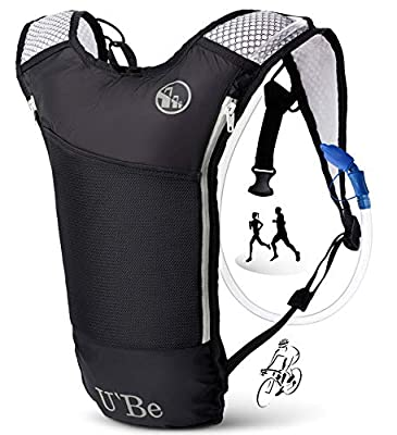 U`Be Hydration Pack Water Backpack - Running Hiking Cycling Mountain Biking Camelback for Kids Women and Men with Insulated Bottle Pocket and 2l Water Bladder