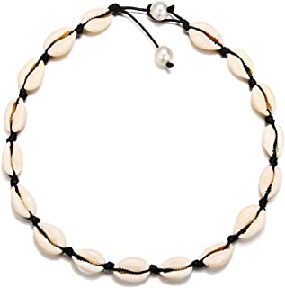 Artificial Pearl Necklace Set Creative Simple Broken Shell Necklace, Choker for Women Girl Pearl Handmade Hawaii Beach Rope Jewelry Weaving Necklace (Black)