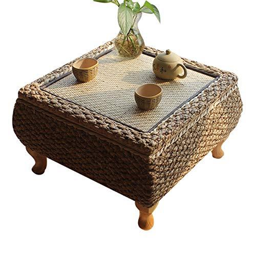 BOOSSONGKANG coffee table, Handmade Rattan Tea coffee table, With Storage Japanese Balcony Bay Window Learning Study Table For Living Room F
