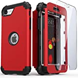 IDweel iPhone SE 2020 Case with Tempered Glass Screen Protector, Hybrid 3 in 1 Shockproof Slim Heavy Duty Hard PC Cover Soft Silicone Rugged Bumper Full Body Case for iPhone SE 2nd Gen (Red)