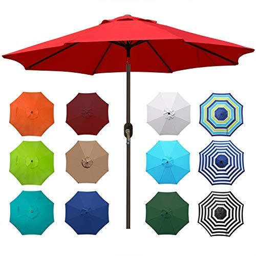 Blissun 9ft Patio Umbrella, Manual Push Button Tilt And Crank Garden Parasol (Red)