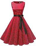 Gardenwed Annata 1950 retrò Rockabilly Polka Vestito da Audery Swing Senza Maniche Abito da Cocktail Partito Red Small White DOT M