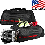 THIN RED LINE 4 Meal ISODUFFLE Gym Bag Meal Prep Management Insulated Duffle Lunch Bag with 8 Stackable Meal Prep Containers, 2 ISOBRICKS and Shoulder Strap -MADE IN USA