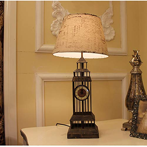 DKee Lámpara de Mesa Lámpara de Mesa Creativa posmoderna Europea de Hierro Forjado Dormitorio Retro lámpara de cabecera Escritorio Personalidad lámpara de Mesa de Moda lámpara de Mesa Decorativa